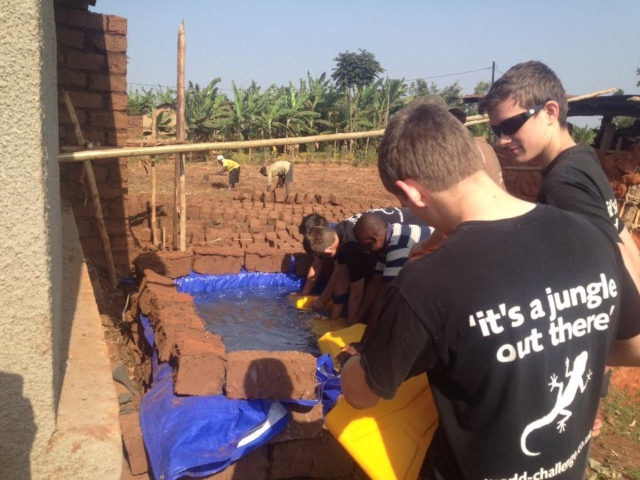 making clay bricks for the house