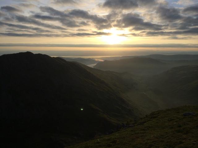 Sunrise. Looking down Grisedale & Ullswater in far distance