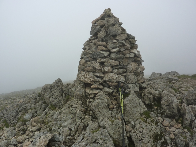 Summit cairn on Raise