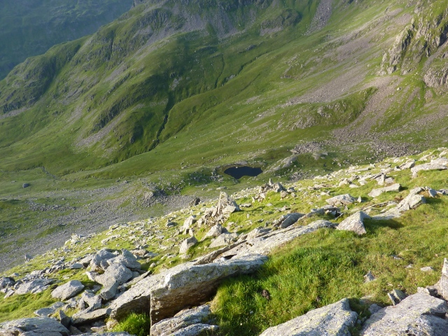 Looking down at Hard Tarn