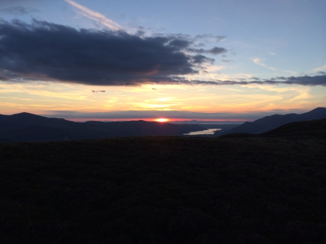 Sunset from Bleaberry Fell with Bassenthwaite Lake in the distance.