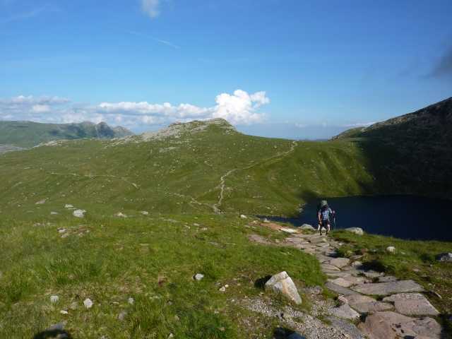 Terry coming up from Angle Tarn