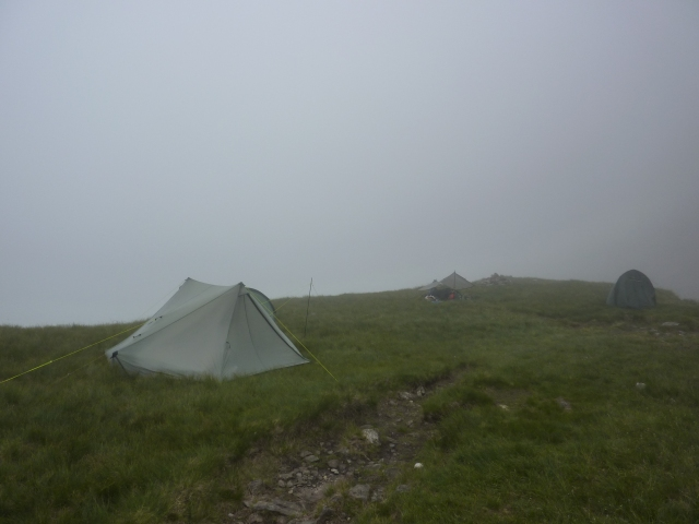 Cloud down on our wild camp