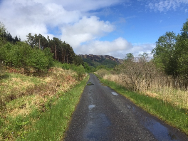 Weather clears at the end of our journey, the road back to Glen Trool